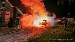 Autobrand aan Willemstrjitte in Damwâld
