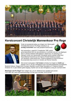 Kerstconcert met Chr. Mannenkoor Pro Rege op 8 december in De Fontein te Dokkum