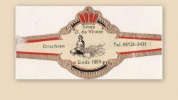 Sigarenbandje firma de Vrieze uit Drachten